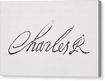 Signature Of King Charles I Of England Canvas Print by Vintage Design Pics
