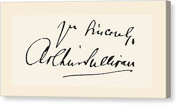 Signature Of Sir Arthur Seymour Canvas Print