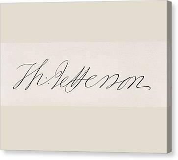 Signature Of Thomas Jefferson Canvas Print by Vintage Design Pics
