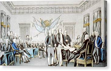 Signing The Declaration Of Independence Canvas Print by American School