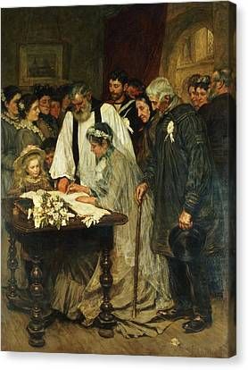 Signing The Marriage Register Canvas Print by James Charles