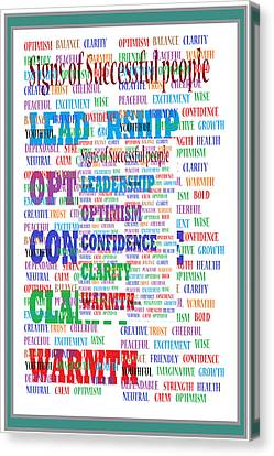 Signs Of Successful People A Texto-graphic Of Leadership Qualities Poster Canvas Print