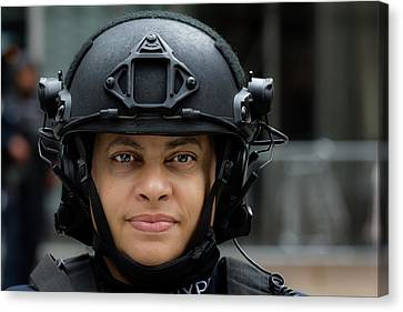 Terrorist Canvas Print - Sikh Day Nyc 2017 Female Anti Terrorist Police Officer by Robert Ullmann