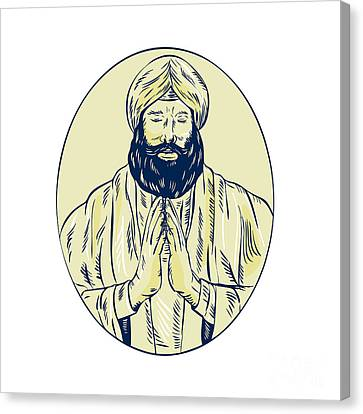 Sikh Priest Praying Front Oval Etching Canvas Print