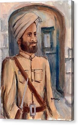 Sikh Art Canvas Print - Sikh Soldier British Indian  Army World War  by Sukhpal Grewal