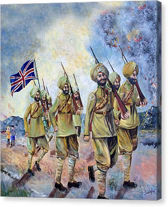 Sikh Art Canvas Print - Sikh Soldiers In France Ww1 by Sarabjit Singh