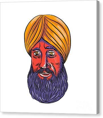 Indian Ink Canvas Print - Sikh Turban Beard Watercolor by Aloysius Patrimonio