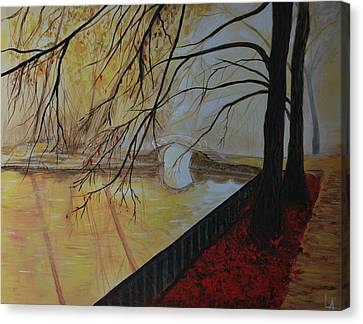 Canvas Print featuring the painting Silence by Leslie Allen