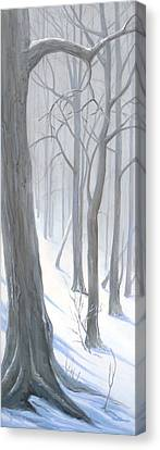 Canvas Print featuring the painting Silent Forest  by Margit Sampogna