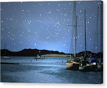 Silent Night Harbor Canvas Print by Stephanie Laird