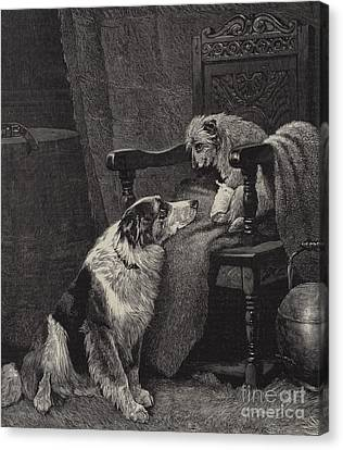 Doggy Cards Canvas Print - Silent Sympathy by Arthur Batt