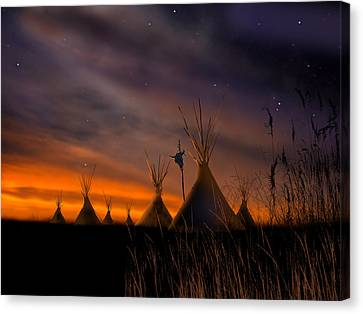 Native American Canvas Print - Silent Teepees by Paul Sachtleben