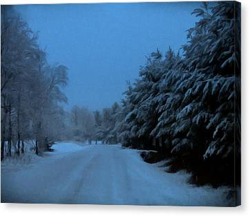 Canvas Print featuring the photograph Silent Winter Night  by David Dehner