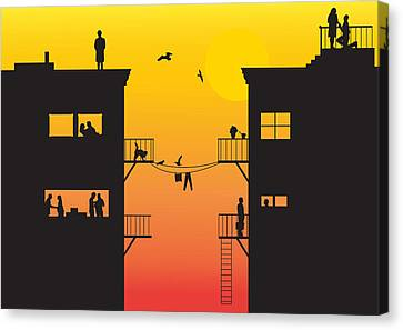 Silhouet City Canvas Print by Lionel Emanuelson
