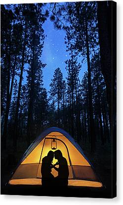Silhouette Couple Camping Under Stars In Tent Canvas Print by Susan Schmitz