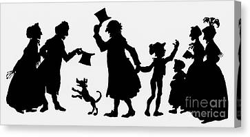 Silhouette Illustration From A Christmas Carol By Charles Dickens Canvas Print by English School
