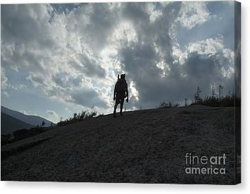Silhouette Of A Hiker On Middle Sugarloaf Mountain - White Mountains New Hampshire Usa Canvas Print by Erin Paul Donovan