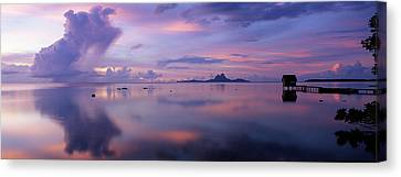 Silhouette Of A Hut In The Sea, Bora Canvas Print by Panoramic Images