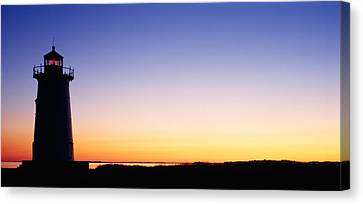 Silhouette Of A Lighthouse, Edgartown Canvas Print by Panoramic Images