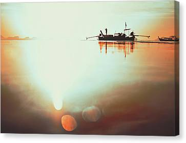 Silhouette Of A Thai Fisherman Wooden Boat Longtail During Beautiful Sunrise Thailand Canvas Print