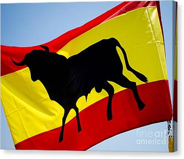 Silhouette Of Bull On Spanish Flag Canvas Print