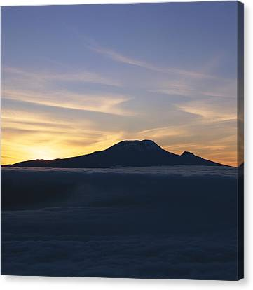 Silhouette Of Mount Kilimanjaro Canvas Print by David Pluth