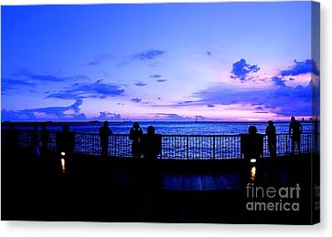 Canvas Print featuring the photograph Silhouette Of People At Sunset by Yali Shi