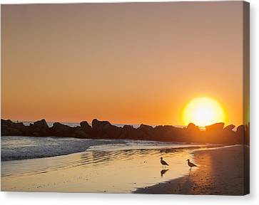 Silhouette Of Rocks On Beach At Sunset Canvas Print