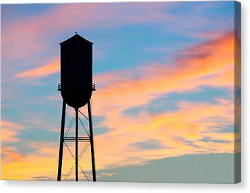 Silhouette Of Small Town Water Tower Canvas Print