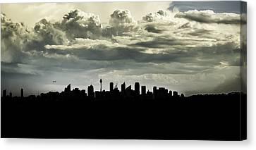 Silhouette Of Sydney Canvas Print