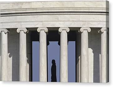 Silhouette Of The Jefferson Memorial Canvas Print by Kenneth Garrett