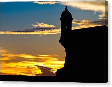 Puerto Rico Canvas Print - Silhouette Of The Walls Of El Morro by George Oze
