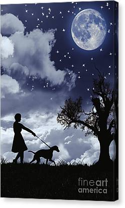 Silhouette Of Woman Walking Her Dog Canvas Print