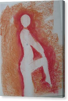 Canvas Print featuring the drawing Silhouetted Figure by AJ Brown