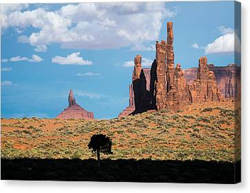 Canvas Print featuring the photograph Silhouetted Tree At Monument Valley by Mary Lee Dereske