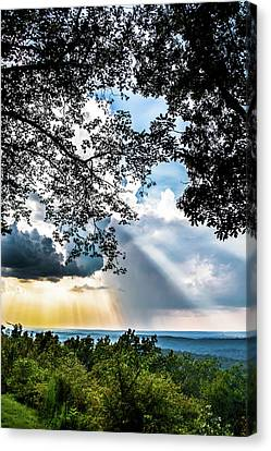Canvas Print featuring the photograph Silhouettes At The Overlook by Shelby Young