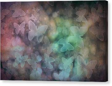 Silhouettes Of Butterflies Canvas Print by Marianna Mills
