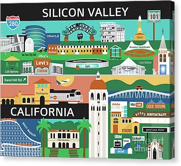 Silicon Valley California Horizontal Scene - Collage Canvas Print by Karen Young