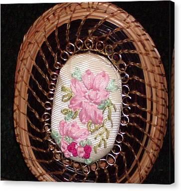 Silk Embroidery Pine Needle Jewelry Box Canvas Print