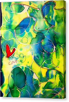 Silk Painting With A Heart  Canvas Print