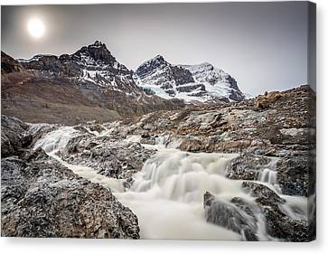 Canvas Print featuring the photograph Silky Melt Water Of Athabasca Glacier by Pierre Leclerc Photography