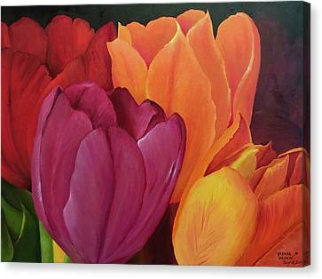 Silky Tulips Unite  Canvas Print
