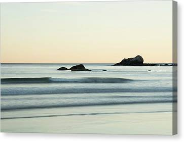 Silky Water And Rocks On The Rhode Island Coast Canvas Print