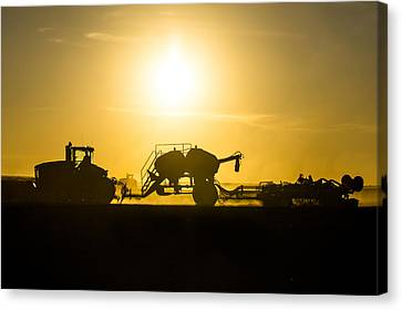 Sillhouette Of Tractors Planting Wheat Canvas Print