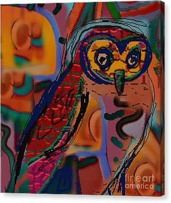 Abstract Digital Canvas Print - Silly Little Owl by Carolyn Alston Thomas