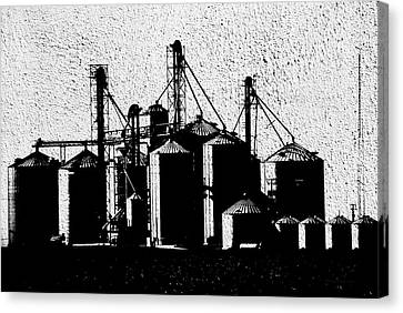 Silos Central Il Textured Bw Canvas Print by Thomas Woolworth