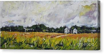 Canvas Print featuring the painting Silos by Debora Cardaci