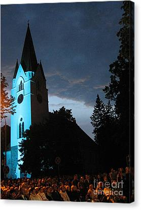 Canvas Print featuring the photograph Silute Lutheran Evangelic Church Lithuania by Ausra Huntington nee Paulauskaite