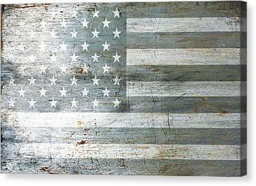 Silver American Flags Canvas Print by Tony Rubino