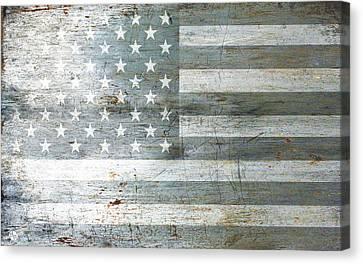 Silver American Flag Canvas Print